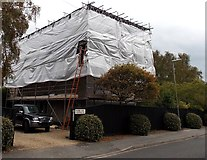 SZ3394 : Westfield Road house under sheeting and scaffolding, Lymington  by Jaggery