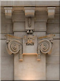 TQ3179 : Ionic pilaster with sculpted head, Waterloo Station by Julian Osley