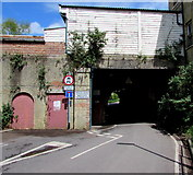 SU3521 : Road under Romsey railway station by Jaggery