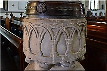 SK8608 : Oakham: All Saints' Church: The Transitional font from 1180 by Michael Garlick