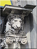 NZ2564 : Scary lion above the entrance to 1 and 3 Grey Street, NE1 by Mike Quinn