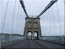 SH5571 : On the Menai Suspension Bridge by Jeremy Bolwell