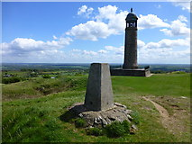 SK3455 : The trig. point and war memorial at Crich by Raymond Knapman