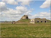 NU1341 : Limekilns and Lindisfarne Castle by Graham Robson