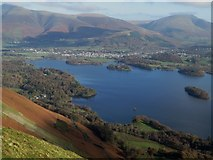 NY2521 : Derwent Water viewed from the top of Cat Bells by Graham Robson