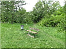 TQ2282 : Bench and litter bin by woodland, Wormwood Scrubs by David Hawgood