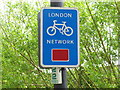 TQ2281 : London Cycle Network sign, Wormwood Scrubs by David Hawgood