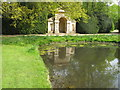 SK9339 : Mirror pond reflecting temple, Belton House by David Hawgood
