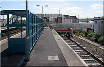 SN1916 : Bay platform on the south side of Whitland railway station by Jaggery