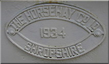 SN1916 : Horsehay nameplate on the Whitland railway station footbridge by Jaggery