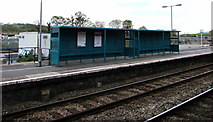 SN1916 : Passenger shelters on platform 2 at Whitland railway station by Jaggery