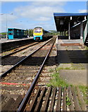 SN1916 : Whitland railway station from Station Road level crossing by Jaggery