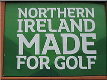 J3731 : Northern Ireland Made for Golf banner at Lidl, Newcastle by Eric Jones