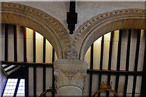 SK8608 : Oakham Castle: Carved capital in the Great Hall 1 by Michael Garlick