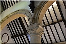 SK8608 : Oakham Castle: Carved capital in the Great Hall 3 by Michael Garlick
