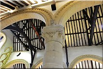 SK8608 : Oakham Castle: Carved capital in the Great Hall 4 by Michael Garlick