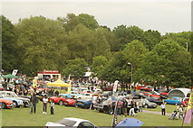 TQ3370 : View of classic cars at the National Sports Centre from the Crystal Palace terrace steps #2 by Robert Lamb