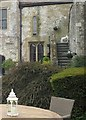 TQ0213 : Amberley Castle - Steps and peacock by Rob Farrow