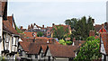 TL9149 : Medieval rooftops, Lavenham by Roger Jones