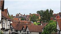 TL9149 : Medieval rooftops, Lavenham by Roger Jones