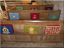 SS6243 : St Thomas, Kentisbury: kneelers and pews (I) by Basher Eyre