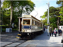 SC4384 : Laxey station, Manx Electric Railway, with car No 7 by Dr Neil Clifton