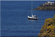 NT6779 : Yacht emerging from Dunbar Harbour by Stephen McKay