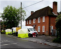 SU3521 : Kelly Communications vans outside Romsey Telephone Exchange by Jaggery