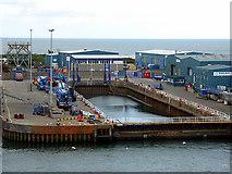 NJ9505 : Dry dock in Aberdeen Harbour by John Lucas