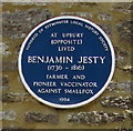 ST5910 : Benjamin Jesty blue plaque, Yetminster by Jaggery