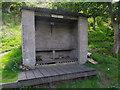 NJ8715 : Anglers' riverside shelter by Stanley Howe