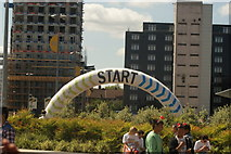 TQ1985 : View of one of the start markers for the Colour Run from Olympic Way by Robert Lamb
