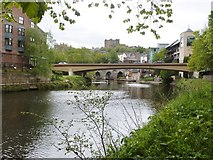 NZ2742 : The Old Elvet Bridge seen through the span of the new Elvet Bridge, Durham by Derek Voller