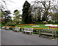 SP3165 : Jephson Gardens benches, Royal Leamington Spa by Jaggery