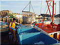 SX9372 : Loading fish into ice-filled bins, Fish Quay, Teignmouth by Robin Stott
