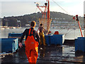 SX9372 : All go on the Fish Quay, evening, Teignmouth by Robin Stott