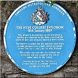SJ9495 : Blue Plaque: Hyde Colliery Explosion by Gerald England