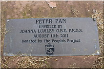 NX9575 : Peter Pan Plaque at Dumfries by Billy McCrorie