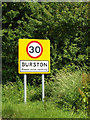 TM1382 : Burston Village Name sign on Diss Road by Adrian Cable