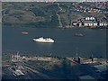 TQ4480 : Cruise ship on the Thames from the air by Thomas Nugent