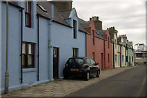 HU4039 : Colourful cottages, New Street, Scalloway by Mike Pennington