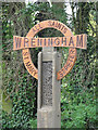 TM1598 : Wreningham village sign (detail) by Adrian S Pye