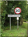 TM0082 : Garboldisham Village Name sign on Kenninghall Road by Adrian Cable