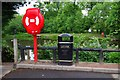 SO9063 : Life buoy and litter bin by Heriotts Pool, Droitwich Lido, Droitwich Spa, Worcs by P L Chadwick