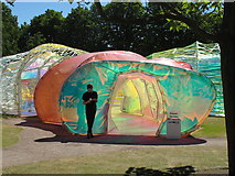 TQ2679 : Serpentine Gallery Pavilion 2015 - entrance and attendant by David Hawgood