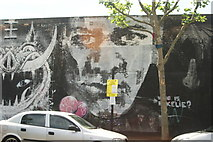 TQ3783 : View of a wall of street art on Bream Street #5 by Robert Lamb