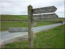 SD8965 : Pennine Way marker, Malham Tarn by Carroll Pierce