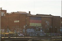 TQ3784 : View of German Deli Warehouse from the River Lea Navigation by Robert Lamb