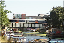 TQ3784 : View of a London Overground train crossing the bridge over the River Lea #2 by Robert Lamb