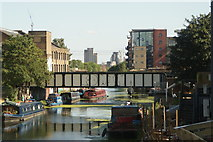 TQ3784 : View of the London Overground bridge from the footbridge leading from the Olympic Park to Hackney Wick #2 by Robert Lamb